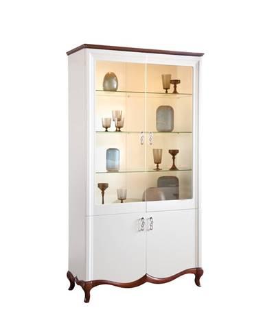 Milano MI-W2 rustikálna vitrína biela