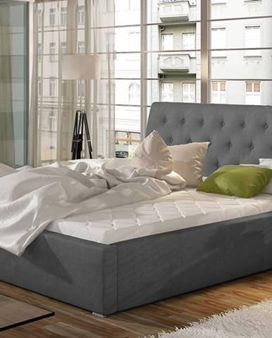 Monzo 200 čalúnená manželská posteľ s roštom tmavosivá