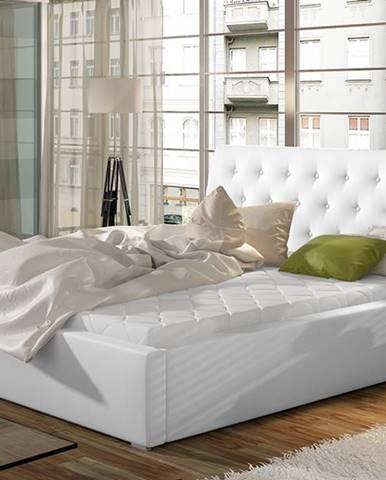 Monzo UP 140 čalúnená manželská posteľ s roštom biela