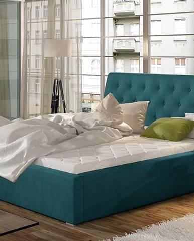 Monzo UP 140 čalúnená manželská posteľ s roštom tyrkysová