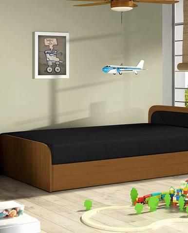 Pinerolo 80 P jednolôžková posteľ (váľanda) s úložným priestorom čierna