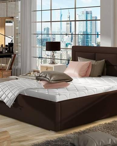 Rovigo 140 čalúnená manželská posteľ s roštom tmavohnedá (Soft 66)