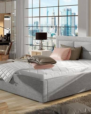 Rovigo UP 140 čalúnená manželská posteľ s roštom svetlosivá (Sawana 21)