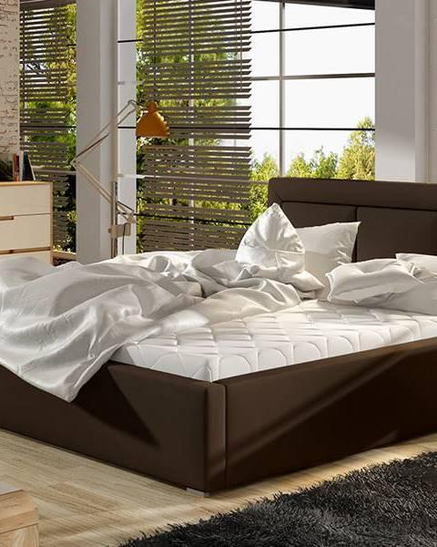 NABBI Branco UP 200 čalúnená manželská posteľ s roštom tmavohnedá (Soft 66)