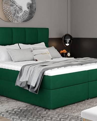 Grosio 145 čalúnená manželská posteľ s úložným priestorom tmavozelená