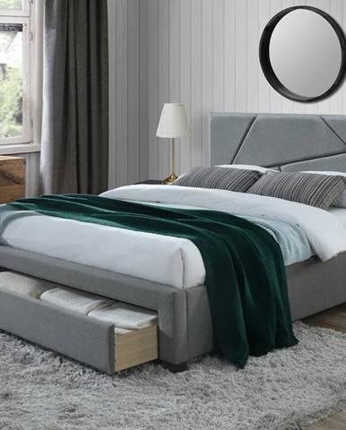 Valery 160 čalúnená manželská posteľ s úložným priestorom sivá
