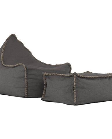 Posalo sedací vak s taburetkou sivohnedá (taupe)