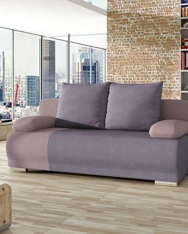Real rozkladacia pohovka s úložným priestorom fialová