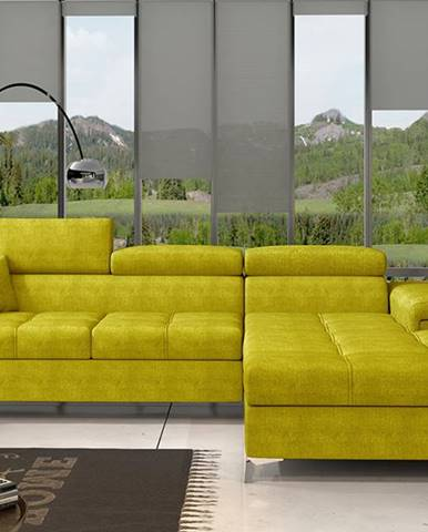 Rosino P rohová sedačka s rozkladom a úložným priestorom žltá