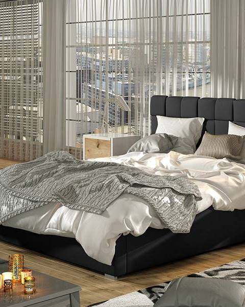 NABBI Galimo UP 140 čalúnená manželská posteľ s roštom čierna