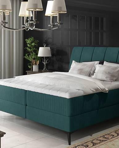 Altama 160 čalúnená manželská posteľ s úložným priestorom tyrkysová