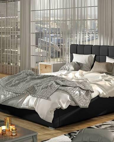 Galimo 160 čalúnená manželská posteľ s roštom čierna