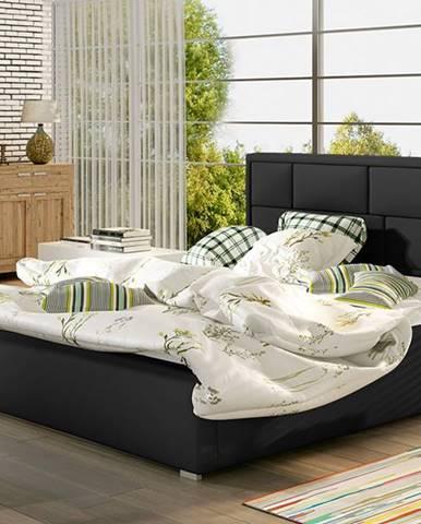 Liza 200 čalúnená manželská posteľ s roštom čierna