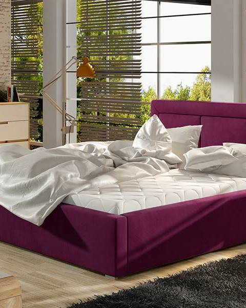 NABBI Branco 200 čalúnená manželská posteľ s roštom vínová