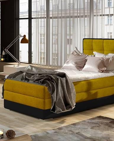 Alessandra 90 P čalúnená jednolôžková posteľ žltá