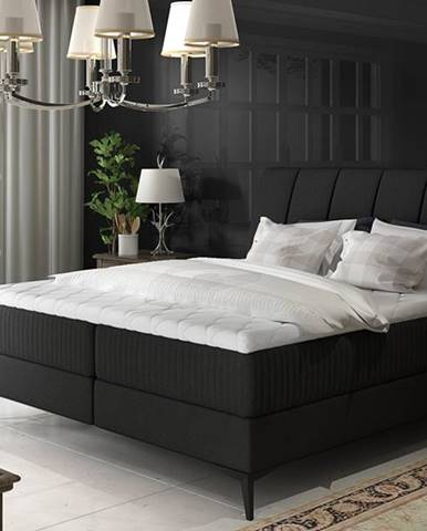 Altama 140 čalúnená manželská posteľ s úložným priestorom čierna (Sawana 14)
