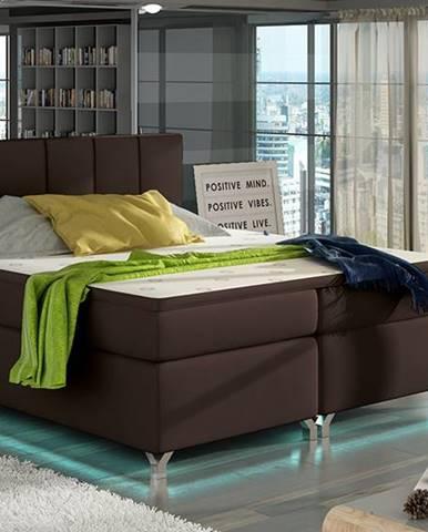 Barino 140 čalúnená manželská posteľ s úložným priestorom tmavohnedá (Soft 66)