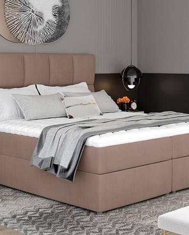 Grosio 185 čalúnená manželská posteľ s úložným priestorom hnedá