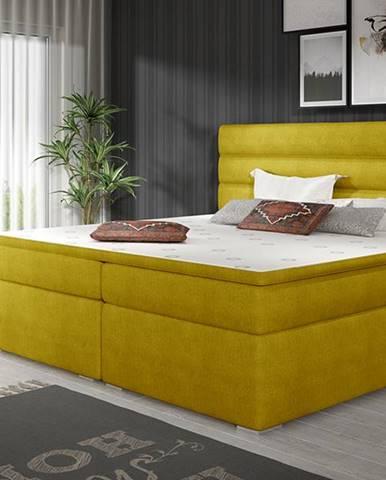 Spezia 140 čalúnená manželská posteľ s úložným priestorom žltá