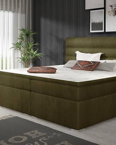 Spezia 180 čalúnená manželská posteľ s úložným priestorom khaki