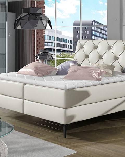 NABBI Lazio 140 čalúnená manželská posteľ s úložným priestorom béžová