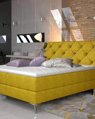 Amika 140 čalúnená manželská posteľ s úložným priestorom žltá
