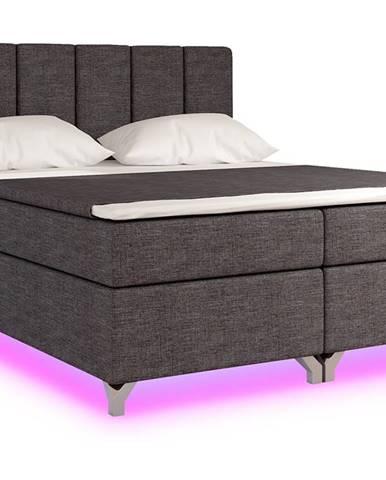 Barino 140 čalúnená manželská posteľ s úložným priestorom sivá (Sawana 05)