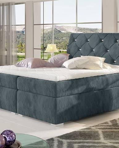 Beneto 180 čalúnená manželská posteľ s úložným priestorom tmavosivá (Paros 06)