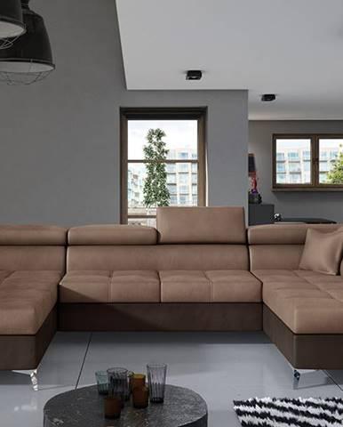 Enrico U P rohová sedačka u s rozkladom a úložným priestorom hnedá