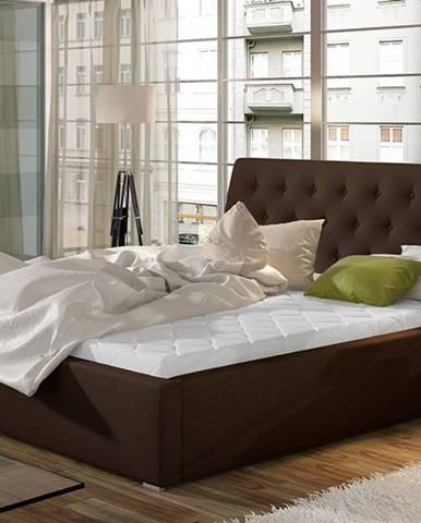Monzo 160 čalúnená manželská posteľ s roštom tmavohnedá (Soft 66)