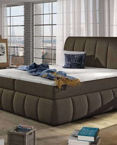 Vareso 140 čalúnená manželská posteľ s úložným priestorom hnedá (Orinoco 29)