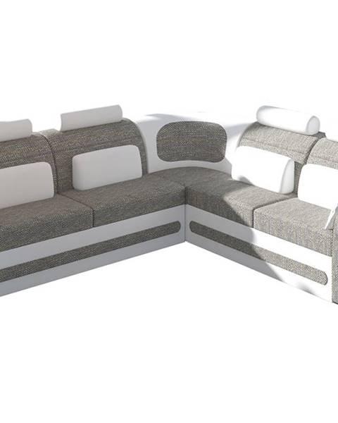 NABBI Bolzano P rohová sedačka s rozkladom a úložným priestorom sivá (Berlin 01)
