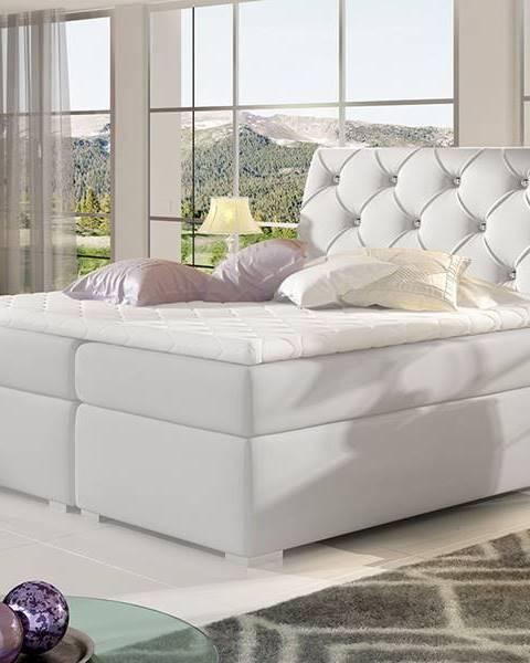 NABBI Beneto 160 čalúnená manželská posteľ s úložným priestorom biela