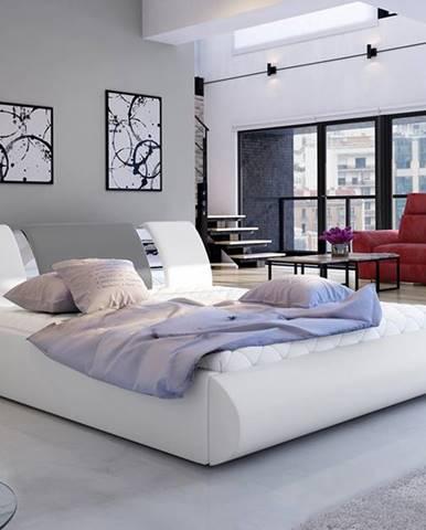 Folino 140 čalúnená manželská posteľ s roštom biela
