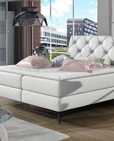 Lazio 180 čalúnená manželská posteľ s úložným priestorom biela