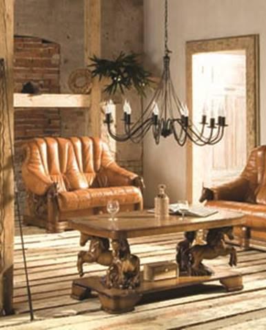 Oskar kožená sedacia súprava drevo D3