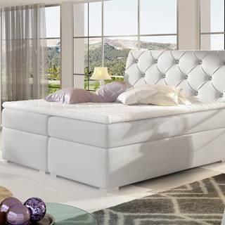 Beneto 160 čalúnená manželská posteľ s úložným priestorom biela