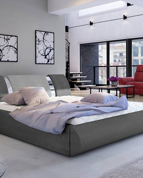 NABBI Folino 140 čalúnená manželská posteľ s roštom tmavosivá