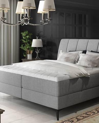 Altama 180 čalúnená manželská posteľ s úložným priestorom svetlosivá (Sawana 21)