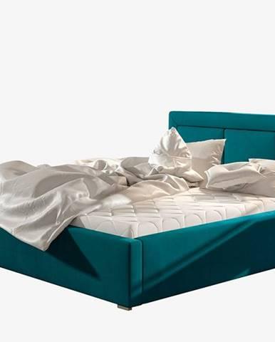 Branco UP 200 čalúnená manželská posteľ s roštom tyrkysová