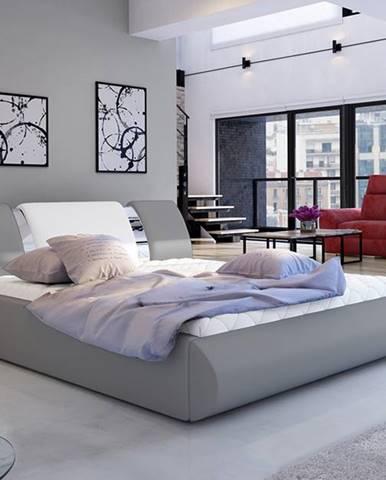 Folino 180 čalúnená manželská posteľ s roštom sivá