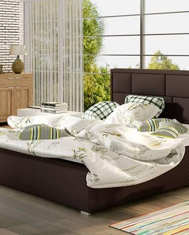Liza 140 čalúnená manželská posteľ s roštom tmavohnedá (Soft 66)