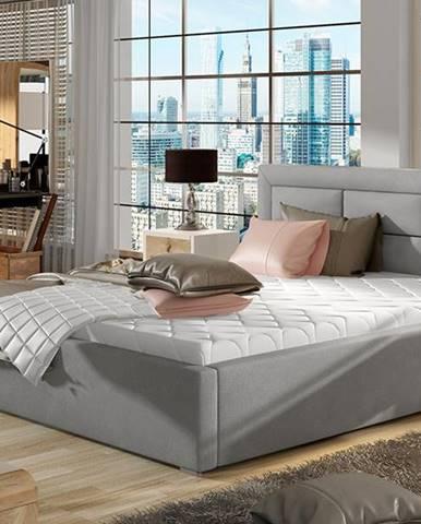 Rovigo UP 140 čalúnená manželská posteľ s roštom svetlosivá (Paros 05)