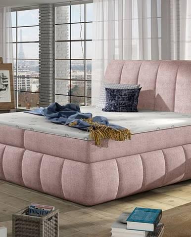Vareso 160 čalúnená manželská posteľ s úložným priestorom ružová