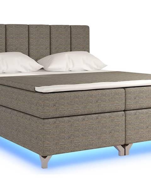 NABBI Barino 140 čalúnená manželská posteľ s úložným priestorom sivá (Berlin 01)