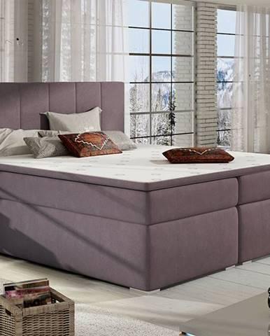 Barmo 140 čalúnená manželská posteľ s úložným priestorom fialová