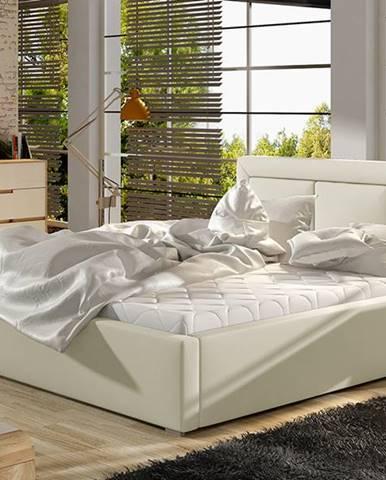 Branco 140 čalúnená manželská posteľ s roštom béžová