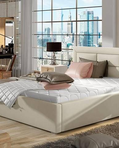 Rovigo UP 140 čalúnená manželská posteľ s roštom béžová