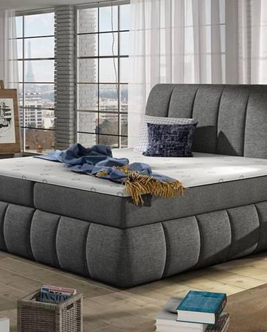 Vareso 160 čalúnená manželská posteľ s úložným priestorom sivá (Sawana 05)