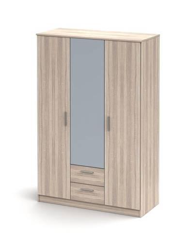 Noko-Singa 82 3D šatníková skriňa so zrkadlom dub sonoma